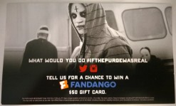 The Purge: Anarchy Twitter and Instagram handouts for a chance to win a $50 gift card at Fandango.